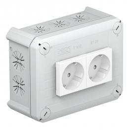 T 100 junction box, 2 Modul 45 sockets in cover, 1-pin