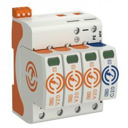 Surge arrestor V20, 3-pole+ NPE and FS, 150 V