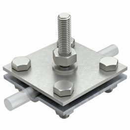 Cross-connector for flat conductors and round cables with threaded bolt M10x45