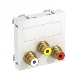 Audio/video cinch connection, 1 module, straight outlet, as 1:1 coupling, pure white