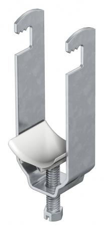 Clamp clip, double, plastic pressure trough
