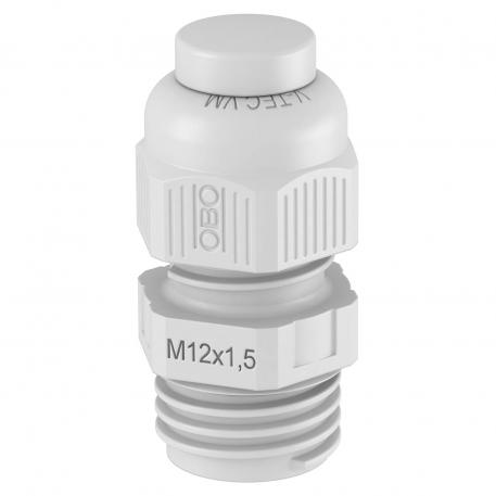 Cable gland, metric thread, with screw plug, light grey