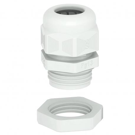 Cable gland, PG thread, set with locknut, light grey
