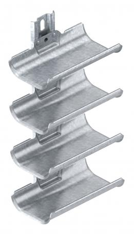 Cable carrier troughs, 4-fold, with mounting rail