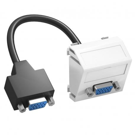 VGA connection, 1 module, slanting outlet, with connection cable
