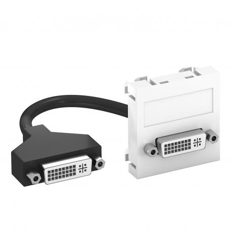 DVI-I connection, 1 module, straight outlet, with connection cable