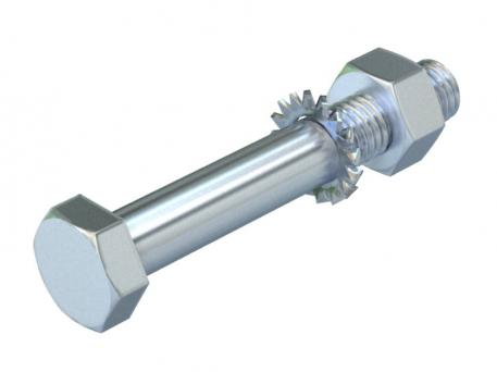 Hexagonal bolt with hexagonal nut, washer and tooth lock washer F
